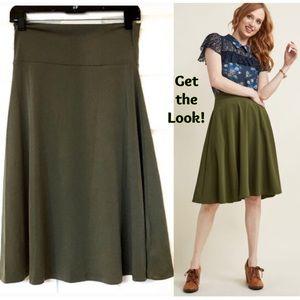 LuLaRoe Azure Skirt Army Green Solid XL NWT New